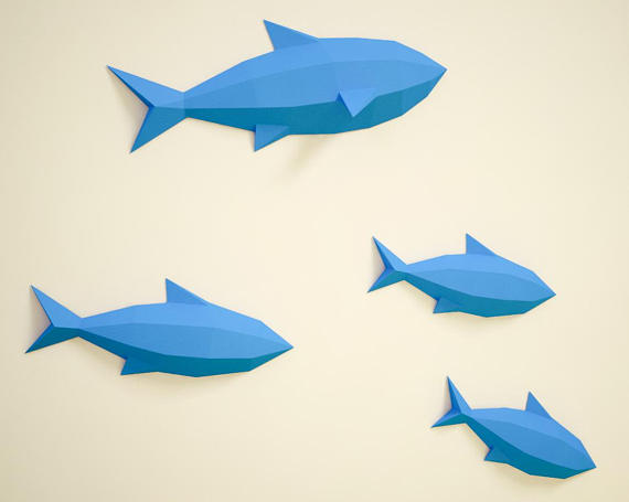 Diy Paper Fishes On Wall 3d Papercraft Fish Easy Paper