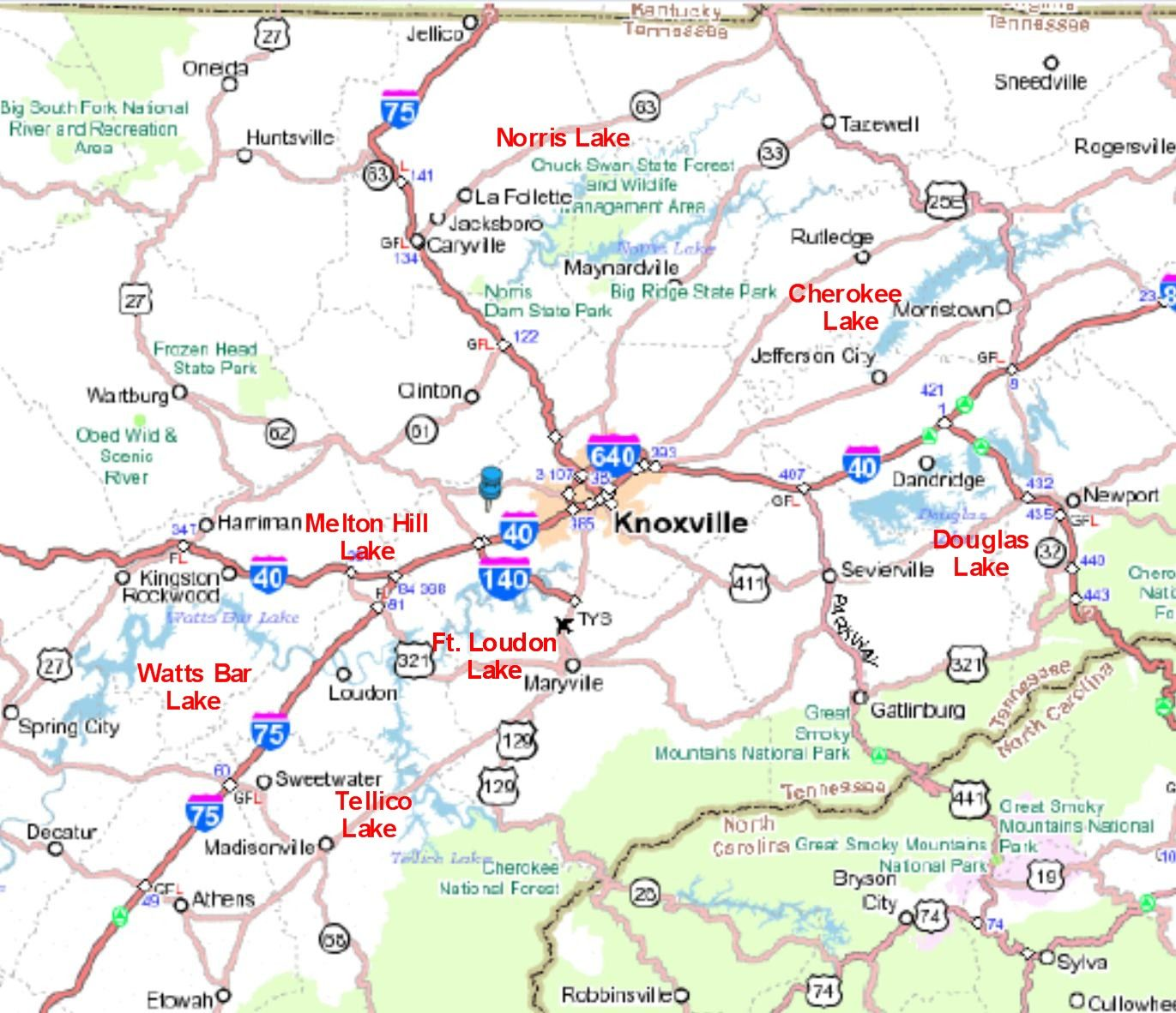 lakes in east tennessee map for Knoxville Tennessee and East