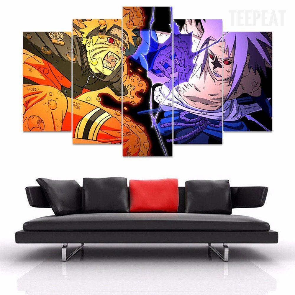 Naruto Vs Sasuke 5 Piece Canvas Painting Customized Canvas Art Anime Wall Art Canvas Art Wall Decor