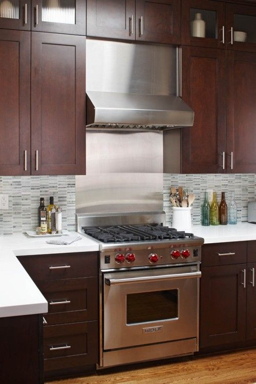 Kitchen Backsplash Cherry Cabinets White Counter a contemporary small-kitchen makeover | shaker cabinets, basements