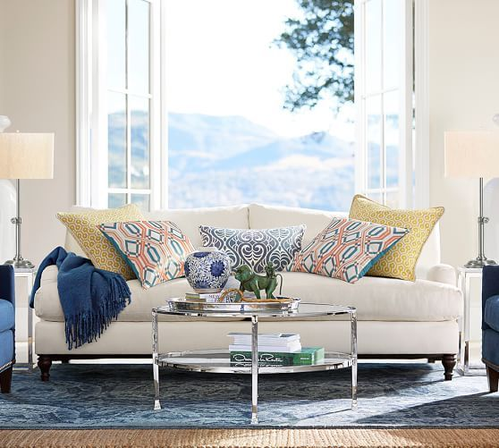 Carlisle Upholstered Sofa | Pottery Barn The Fabric Is Brilliant Too. Itu0027s  Recycled Cotton In
