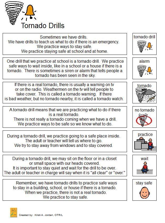 Tornado Drill Narrative Safe schools, Special needs