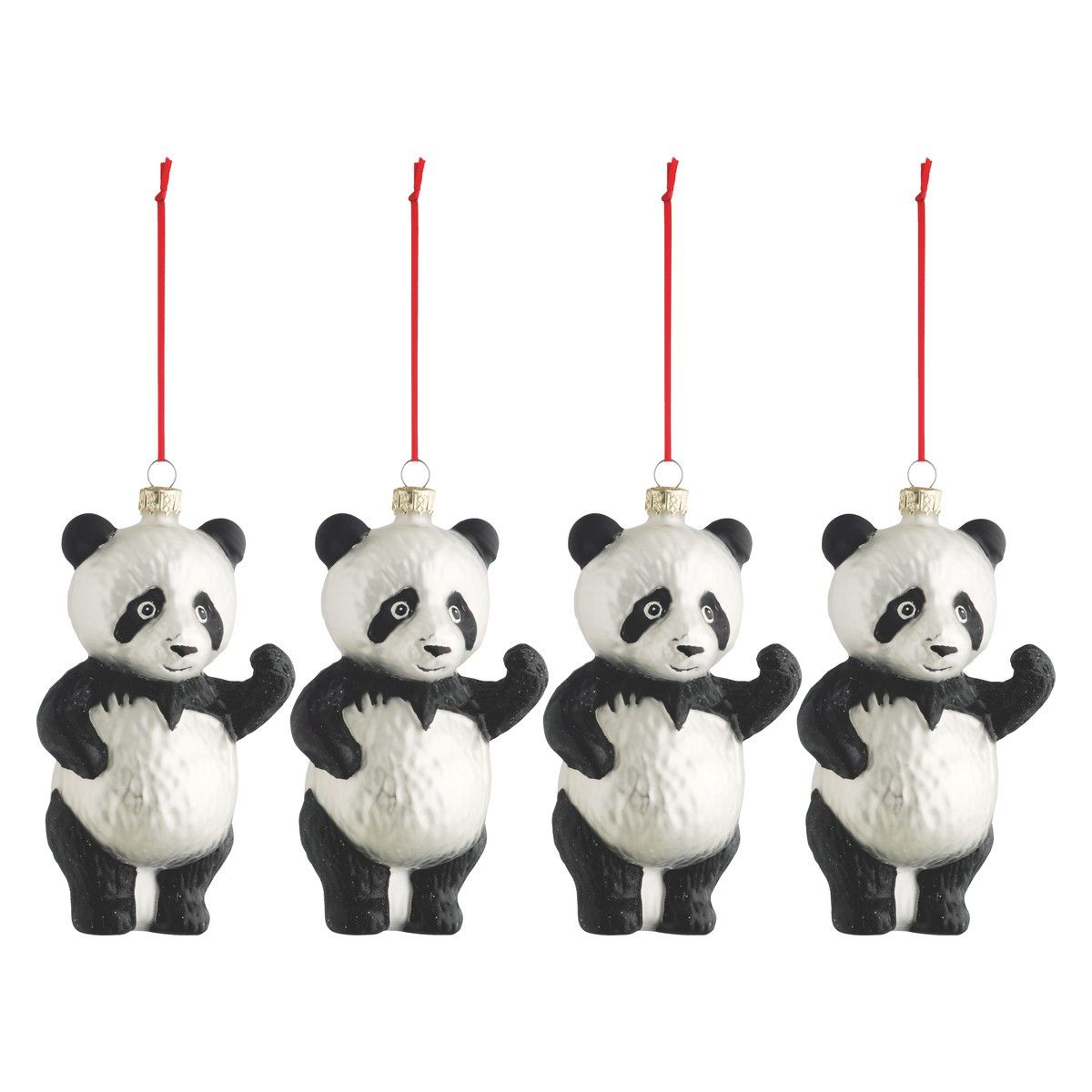 Habitat Christmas Trees: SHU Set Of 4 Panda Glass Christmas Tree Decorations