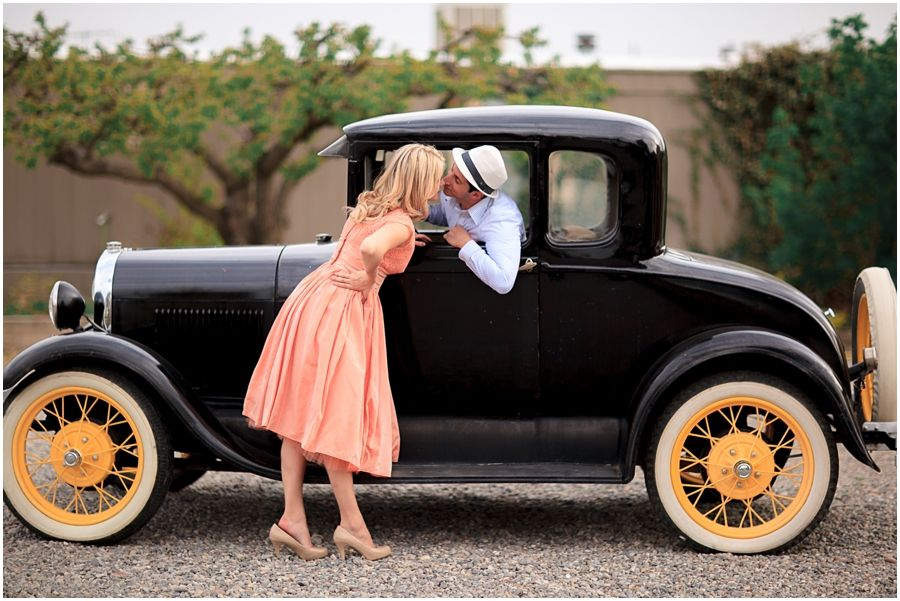 Photo of engagement photos in Palisade Colorado with antique car and ...