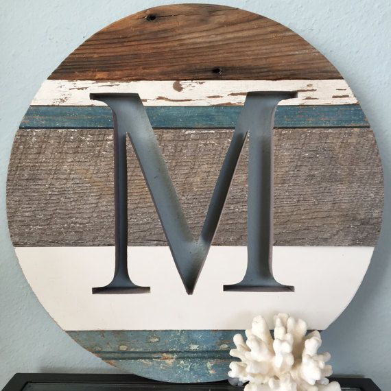 16 Round Wall Art Sign Monogram Letter M Barn Wood Round Wall