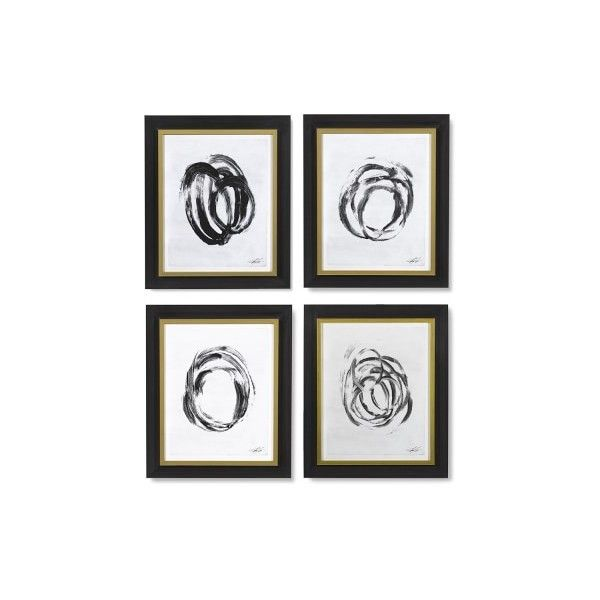Williams-Sonoma Abstract Brushstrokes Set of 4 ($1,800) ❤ liked on Polyvore featuring home, home decor, wall art, black home decor, black wall art and gold leaf wall art