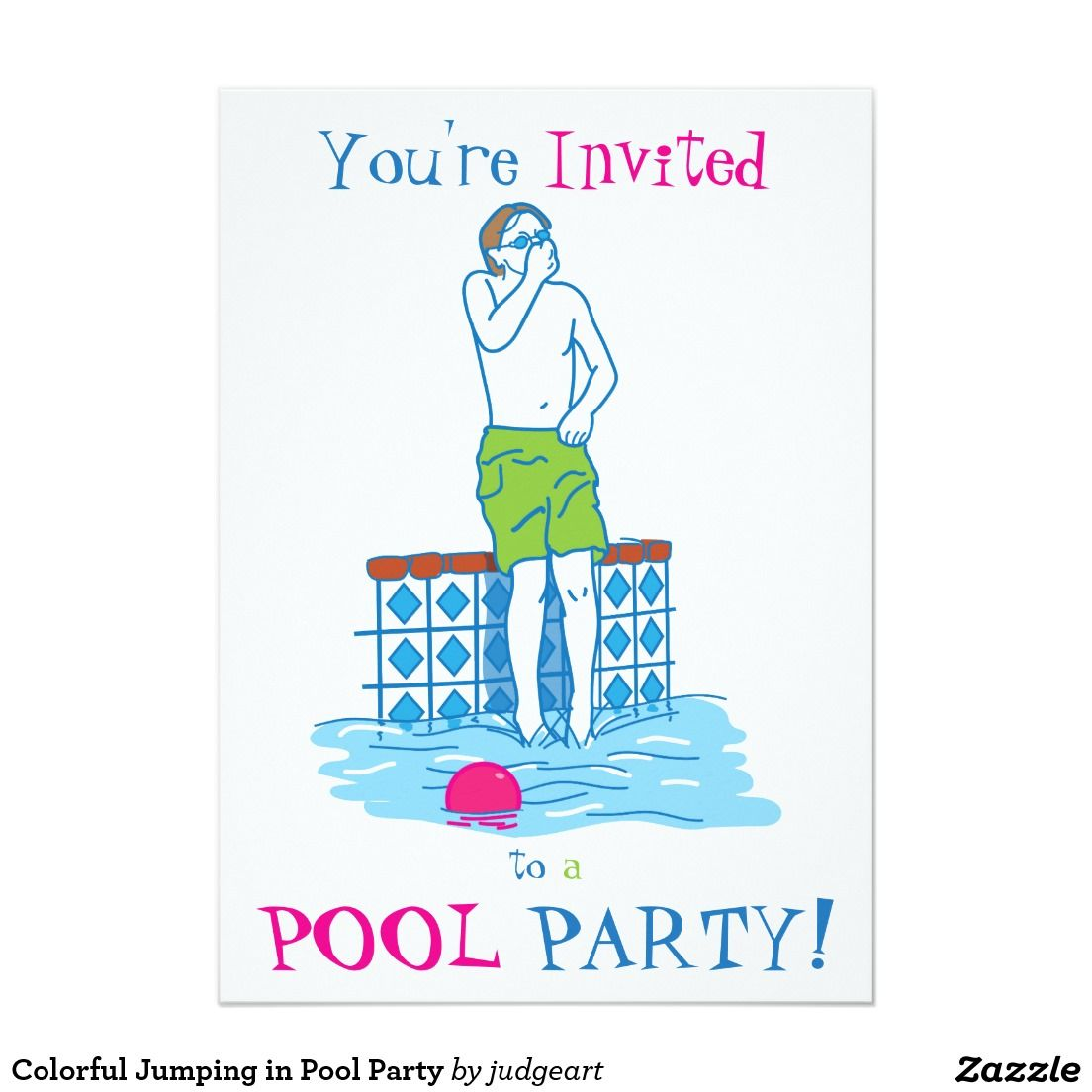 Colorful Jumping in Pool Party Invitation | Pinterest | Pool party ...