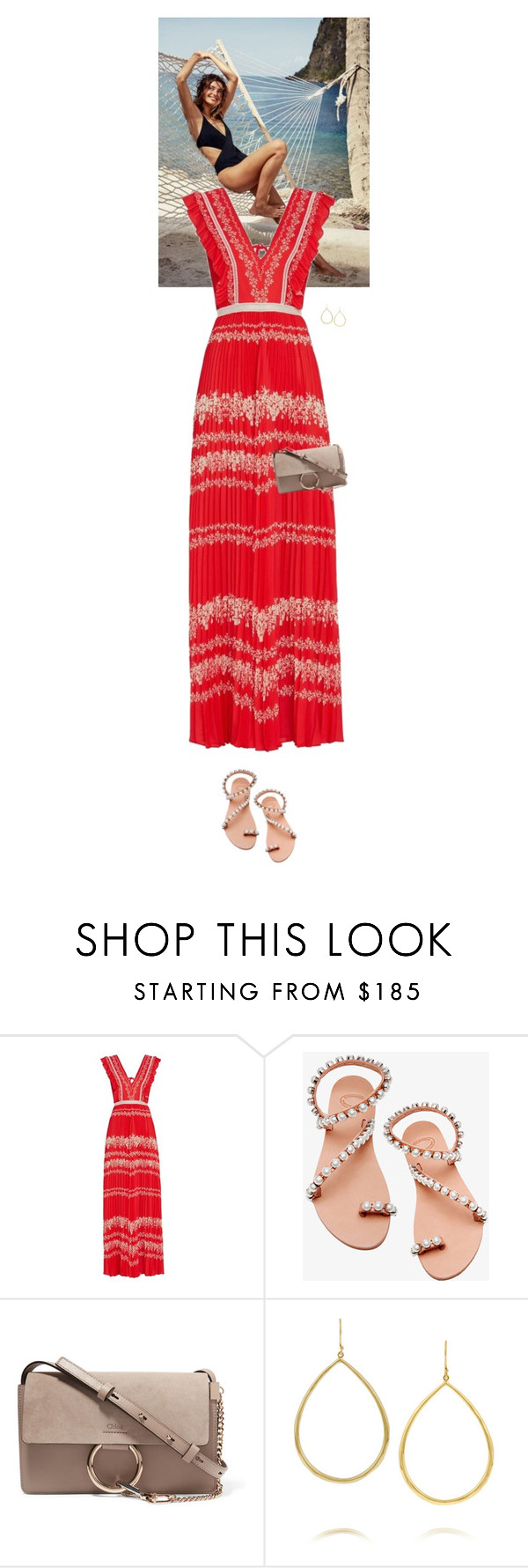 """""""Outfit of the Day"""" by wizmurphy ❤ liked on Polyvore featuring Intermix, Elina Linardaki, Chloé, Ippolita, ootd and redwhiteandblue"""