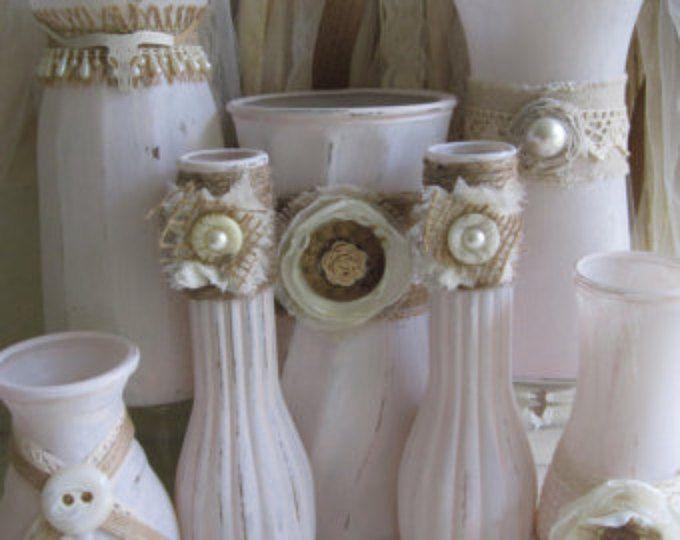 Wedding Vase, Glass Vases, Painted Vases, Upcycled Vases, Shabby Chic Vases, Boho, Rustic Wedding Vases, Wedding Vases, Party Vases
