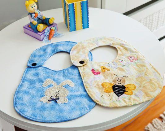Babador de patchwork com motivo de abelha / DIY, Craft, Upcycle