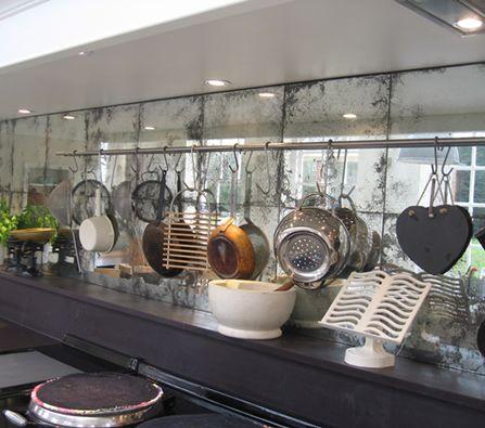 Distressed Mirrored Kitchen Splashback with Utility Rod