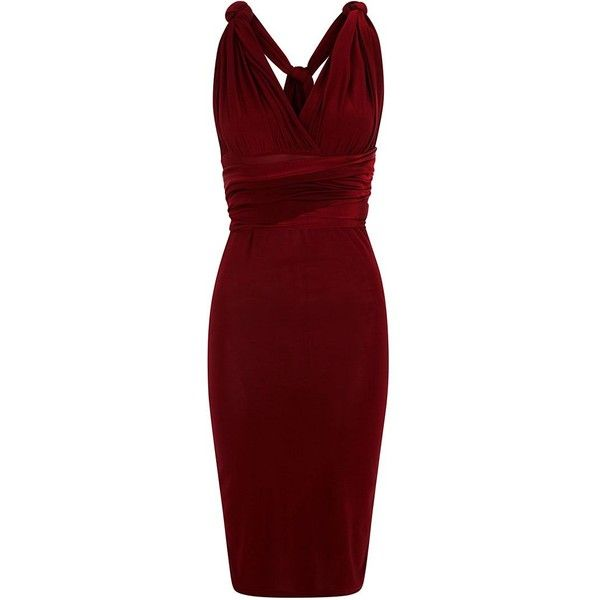 Burgundy 15-in-1 Multiway Bodycon Dress (€40) ❤ liked on Polyvore featuring dresses, burgundy, cocktail dresses, burgundy cocktail dress, midi dress, bodycon dress and red evening dresses