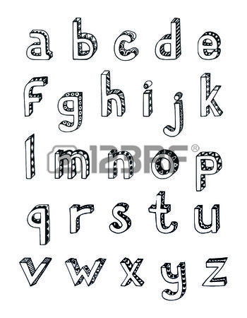 Sketch hand drawn 3d alphabet of small lower case letters isolated ...