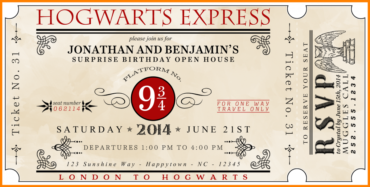 picture relating to Harry Potter Printable named Harry Potter Ticket Invitation Template Bagvania No cost