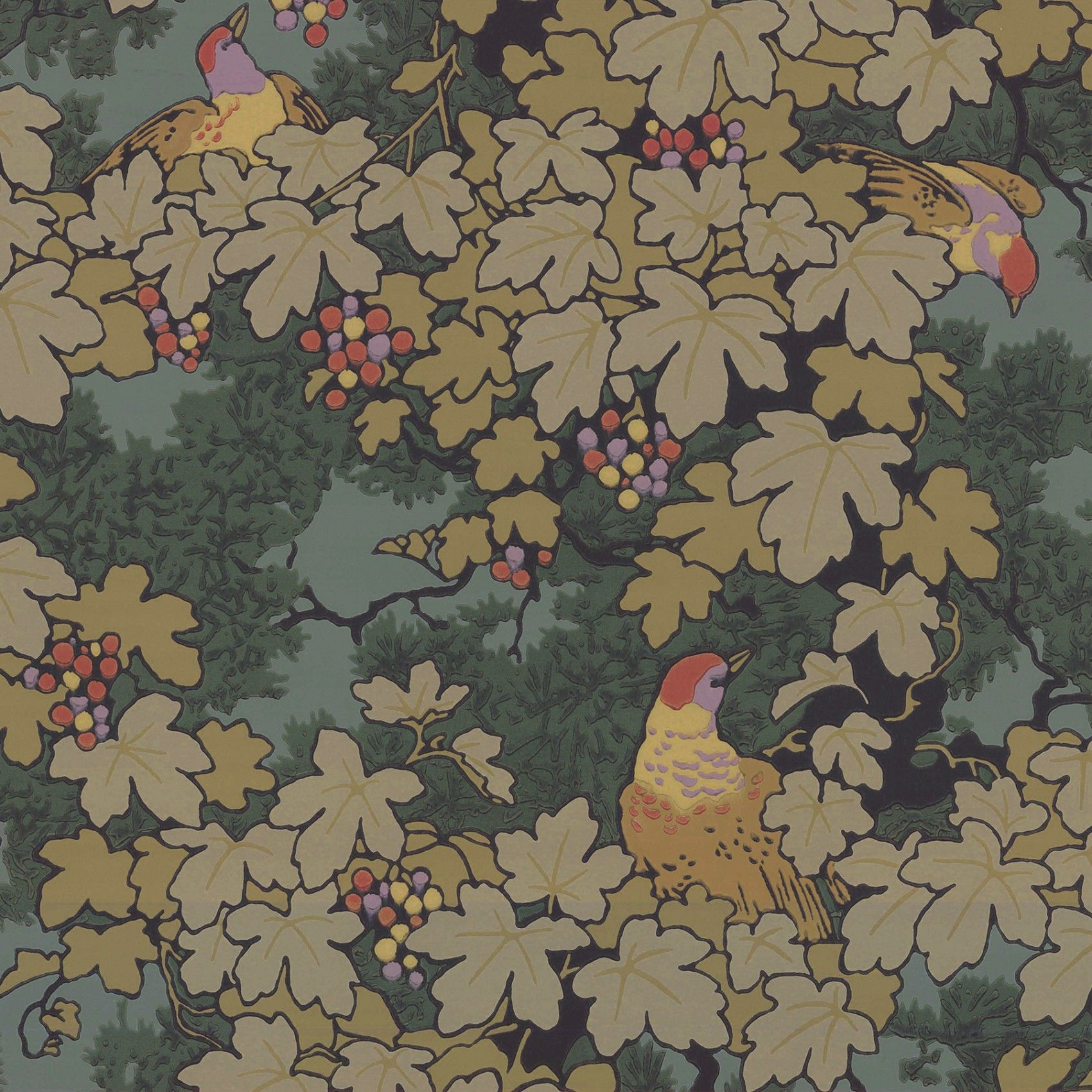 Contemporary Mercia Vines In Deep Blue Botanical Birds And Bees Wallpaper For Sale Wallpaper Vines Vintage Wallpaper