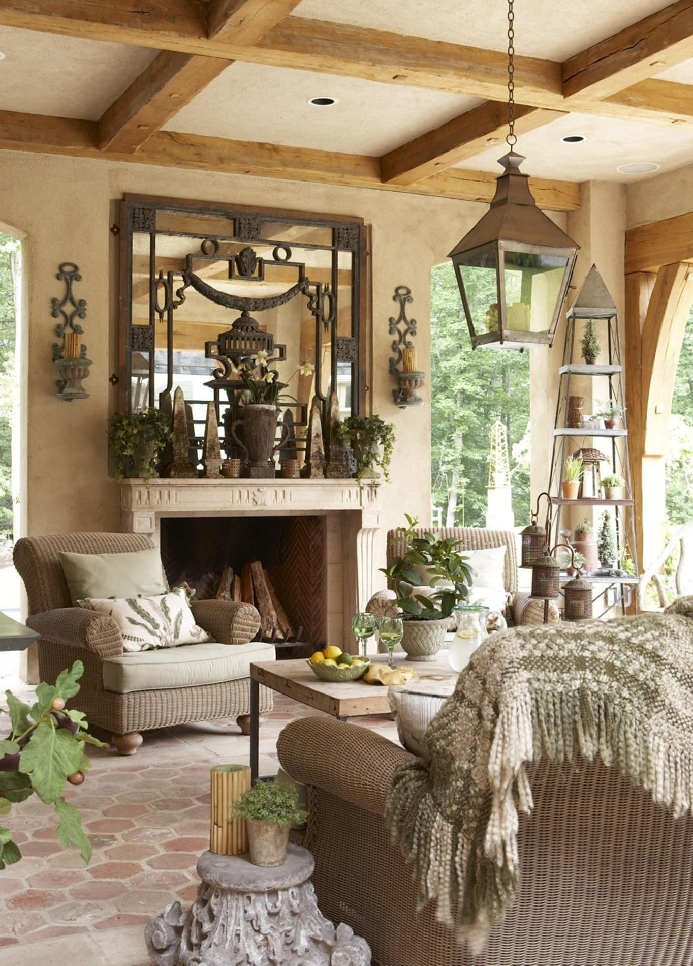 Seating arrangement around the fireplace. Rinfret, Ltd ... on Beautiful Outdoor Living Spaces id=82430