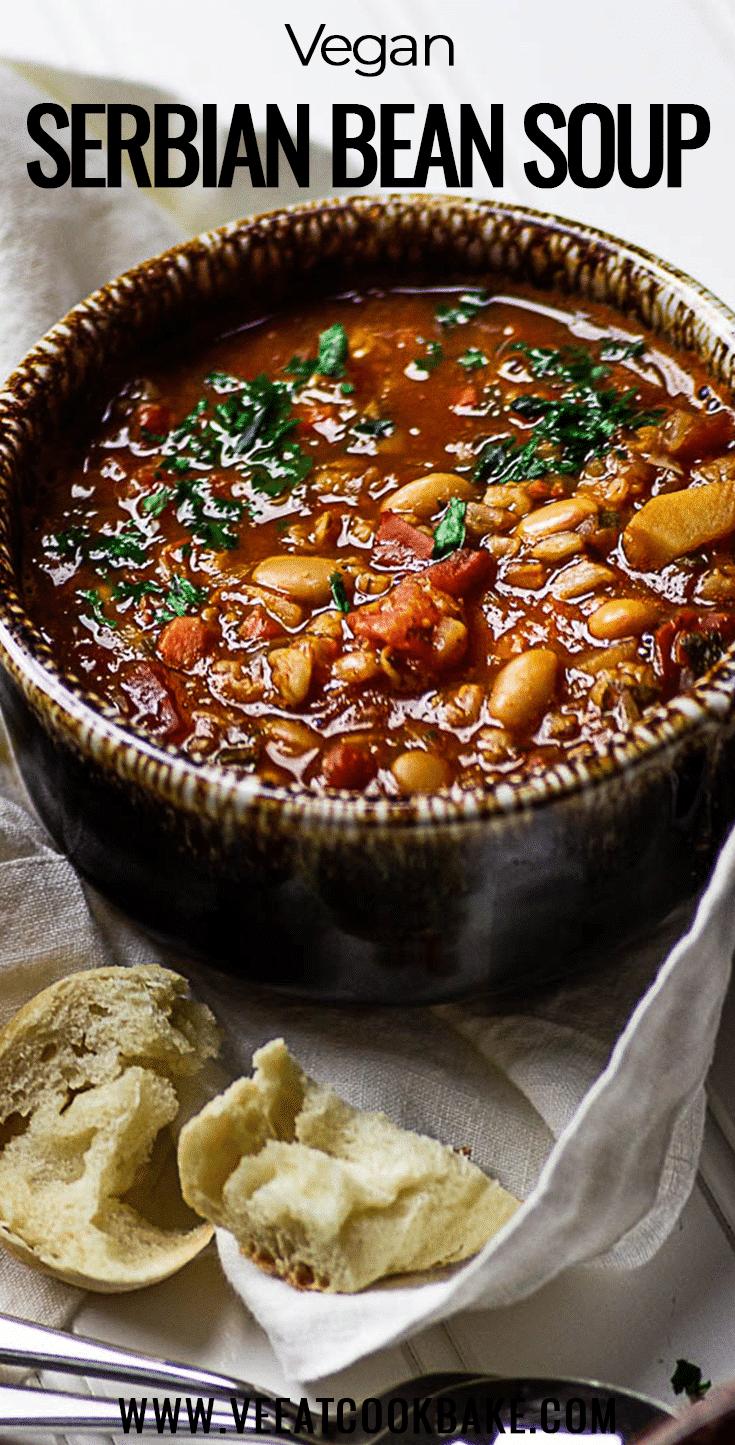 Serbian White Bean Soup - vegan
