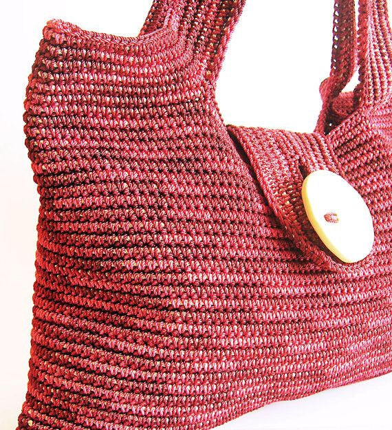 Tapestry crochet shoulder bag pattern. Crocheted in the round in one piece, with long handles and a buttonhole band.