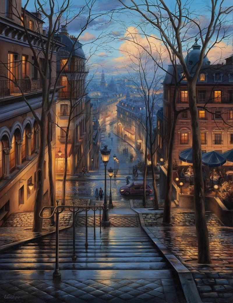 You know that feeling when you see an image so appealing to your senses that you just want to climb inside right then and there? That's what the art of Russian painterEvgeny Lushpindoes. I want to be standing on that rooftop at twilight; with the warm glow of home on my back and the cool evening b