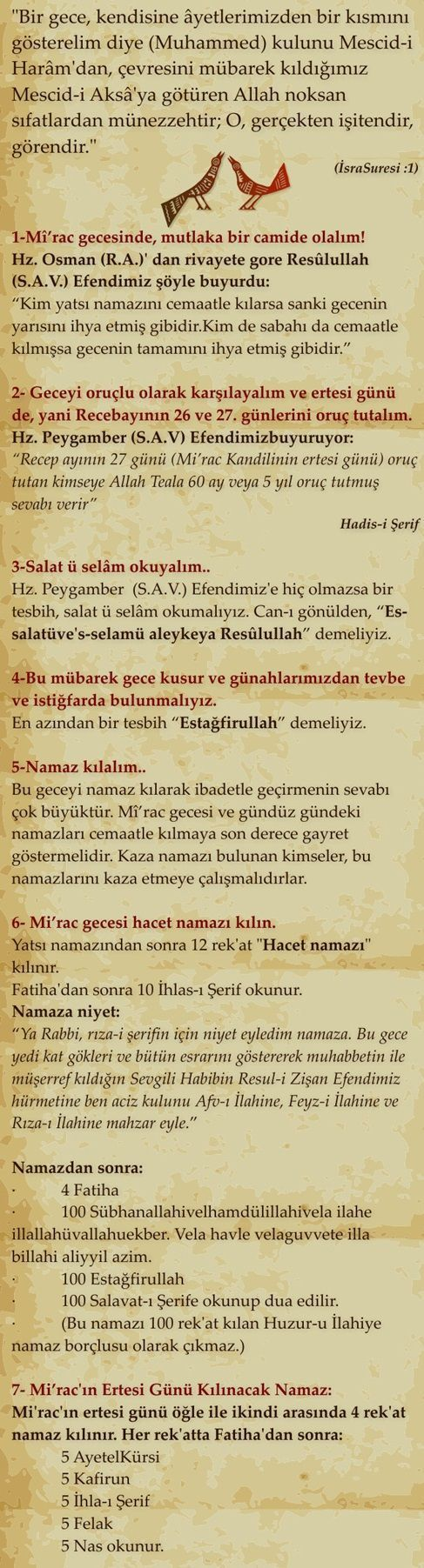 Mirac Kandili Duasi Turkce 6 Dualar Ozlu Sozler Gercekler