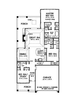 Stylish plan for a narrow lot hwbdo69203 bungalow for Bungalow floor plans for narrow lots