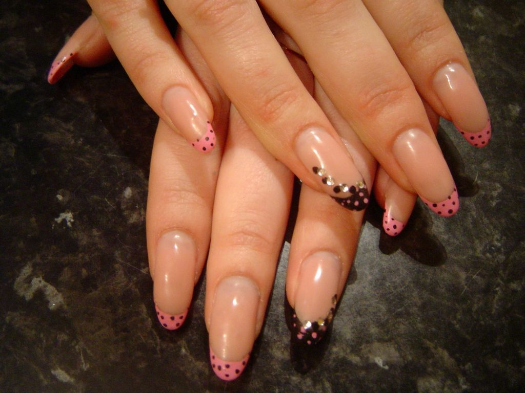 Pink French Nail Art in Black & Pink polka dots with rhinestones ...