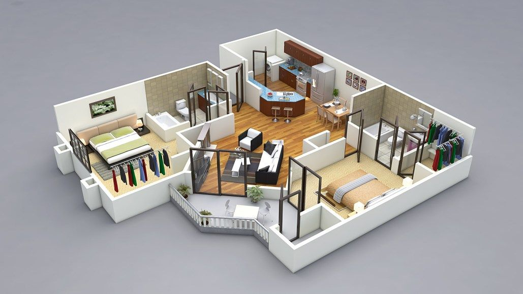 2BHK Floor Plan Isometric View Design for Hastinapur Smart Village ...