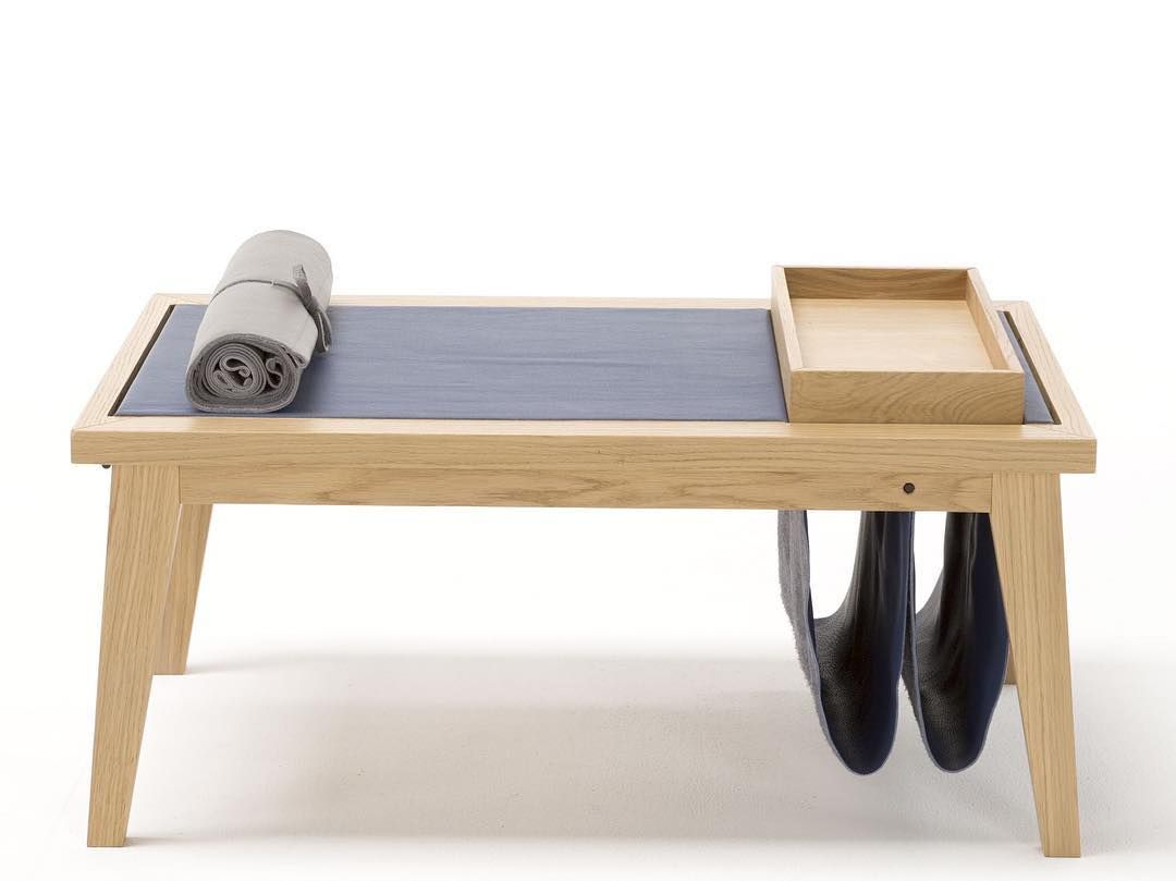 Rectangular Table Linear Which Combines The Warmth Of Oak To The Organic Nature Of The Removable Leather Cover Oak Coffee Table Multipurpose Furniture Table [ 809 x 1080 Pixel ]
