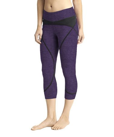 Another great find on #zulily! Plum Heather & Black Solstice Capri Leggings #zulilyfinds