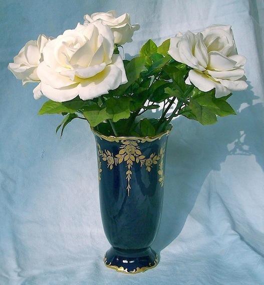 Kostbare HUTSCHENREUTHER Vase echt Kobaltblau-Gold, NEU, unbenutzt