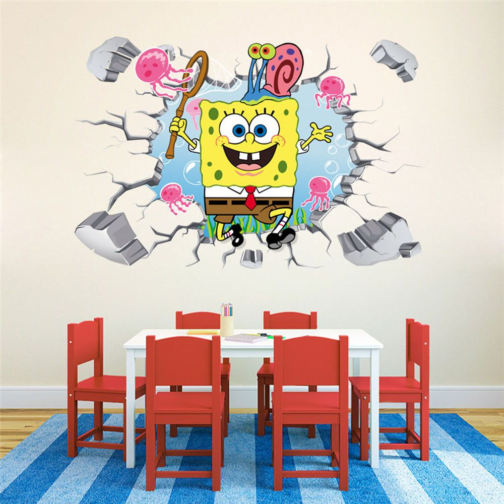 D Cute Baby Room Wall Stickers Removable Decorative Cartoon Vinyl - Spongebob room decals