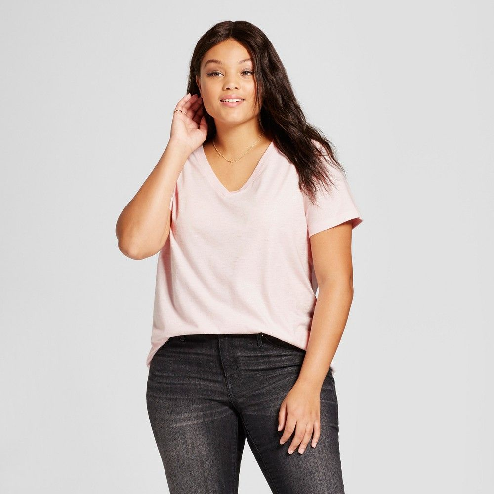 0b624bd8ca4 Women s Plus Size Short Sleeve V-Neck T-Shirt - Ava   Viv Light Pink with  Silver Shine