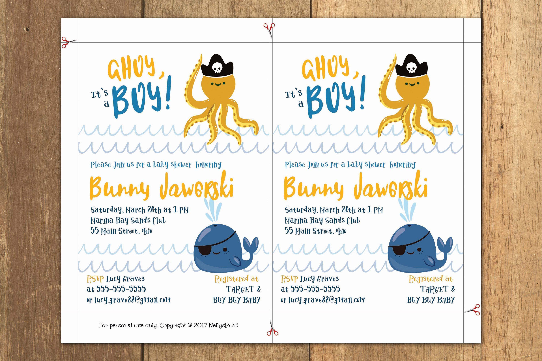 Nautical Ahoy Boy Baby Shower Invitation