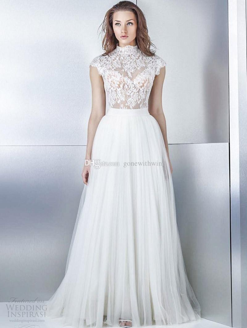 High neckline cap sleeves a line wedding dresses heavily