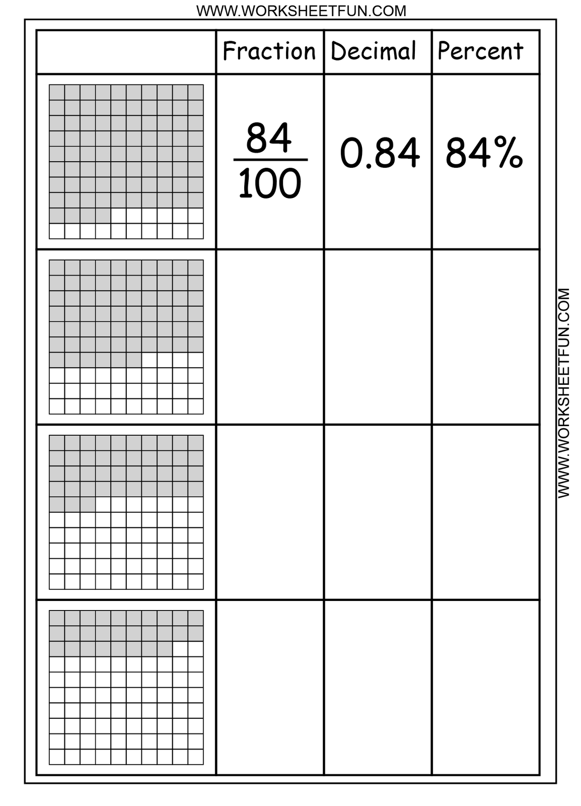 Decimal Grid Worksheets 4th Grade   Printable Worksheets and Activities for  Teachers [ 1600 x 1154 Pixel ]