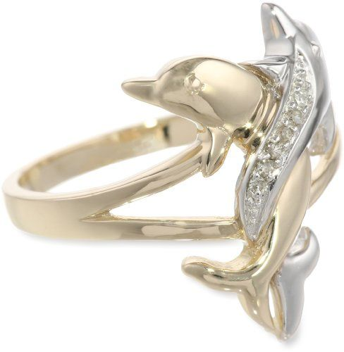 10k Two Tone Gold Diamond Accent Intertwined Dolphin Ring Size 8