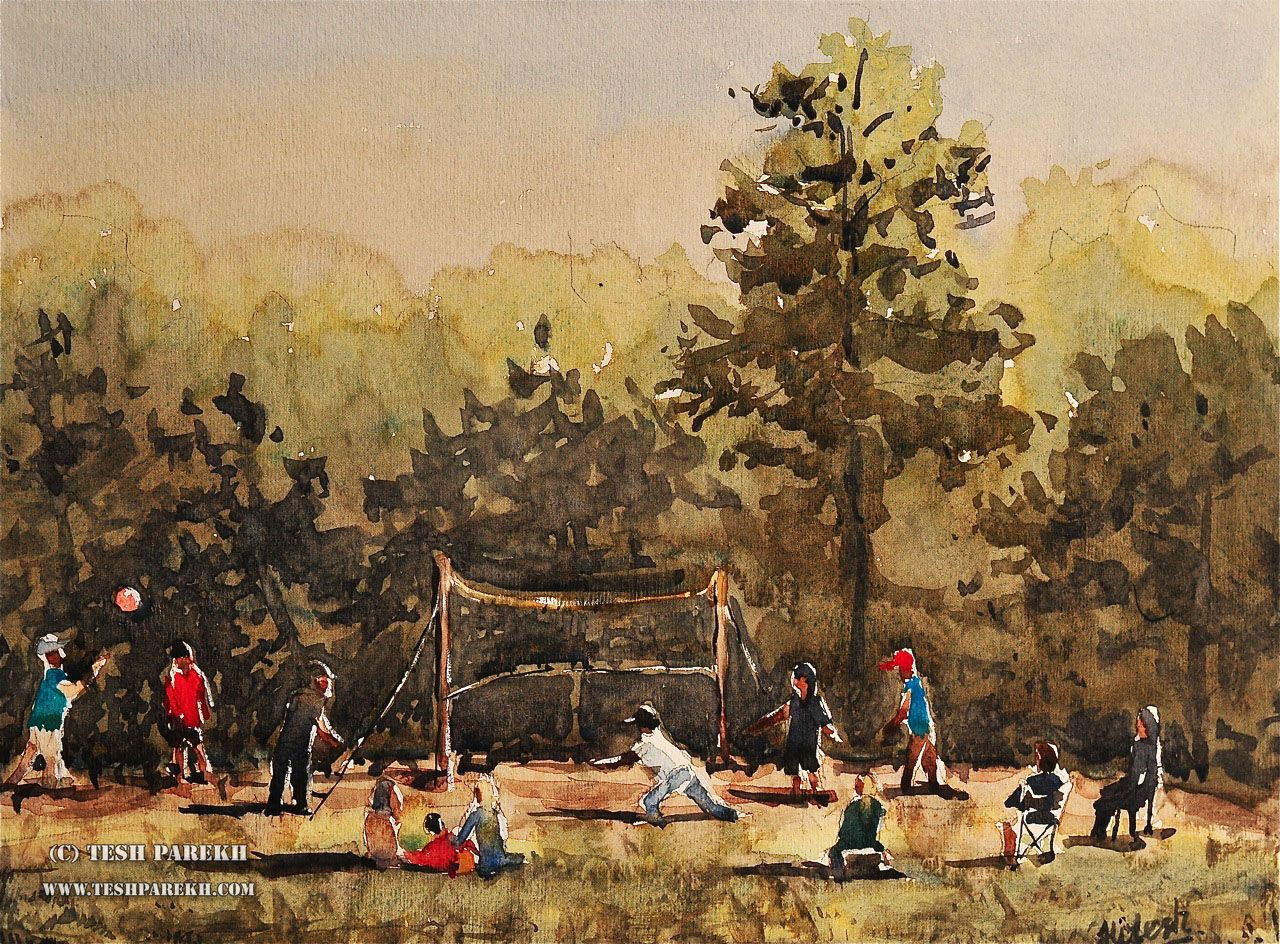 Game with watercolor - Game In The Park A Plein Air Watercolor Sketch By Tesh Parekh