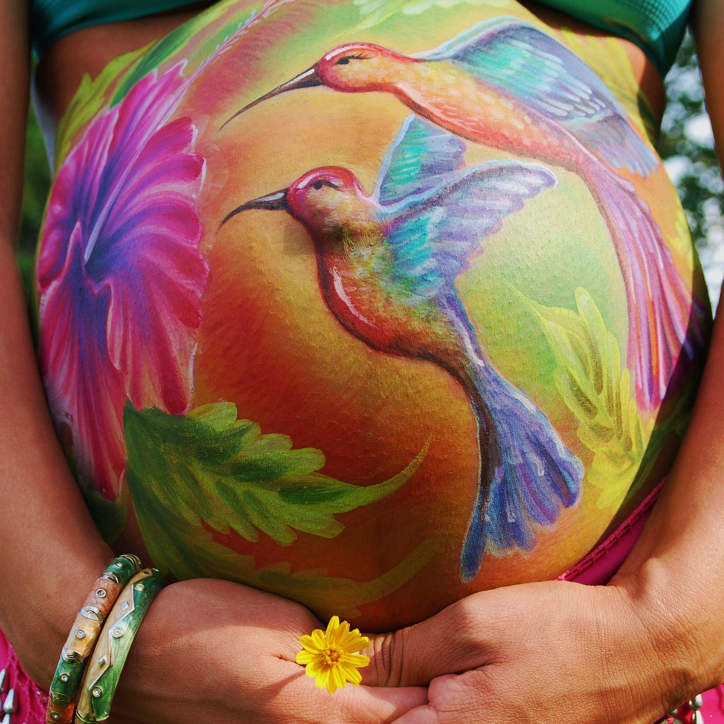 Babyzimmer Tattoo Belly Painting Hummingbird I Wish I Was This Good Baby