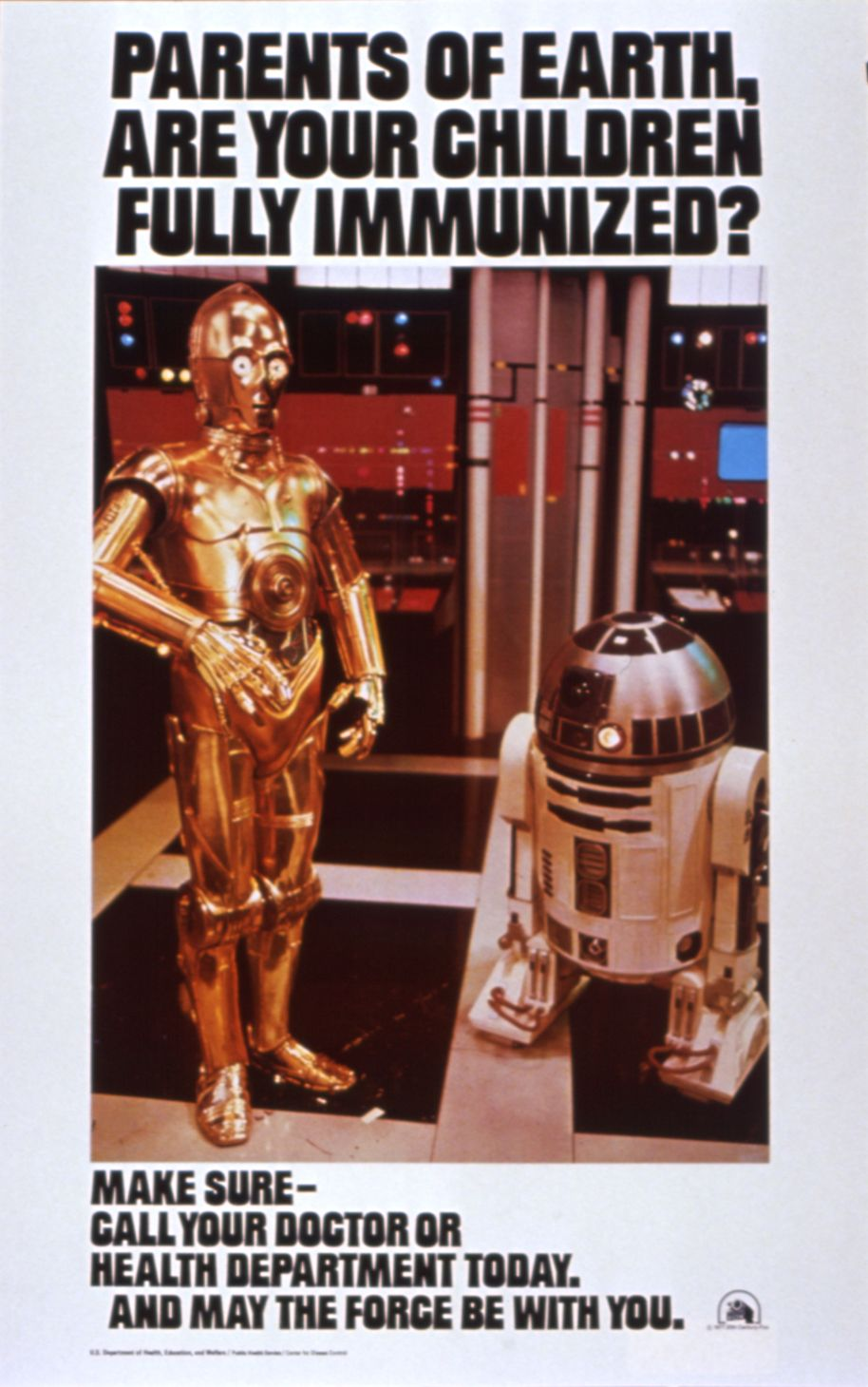 Star Wars immunization poster from 1977 from the Department of Health, Education, and Welfare and the Centers for Disease Control