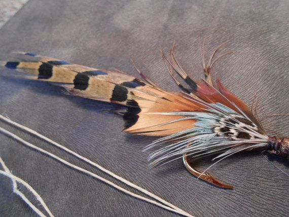 The PHEASANT FEATHER Guest Book Collection.Wedding Tie Fly Fishing Quill Pen Pheasant Feather Hook Boutonniere Rustic Book Lure Guest Gatsby