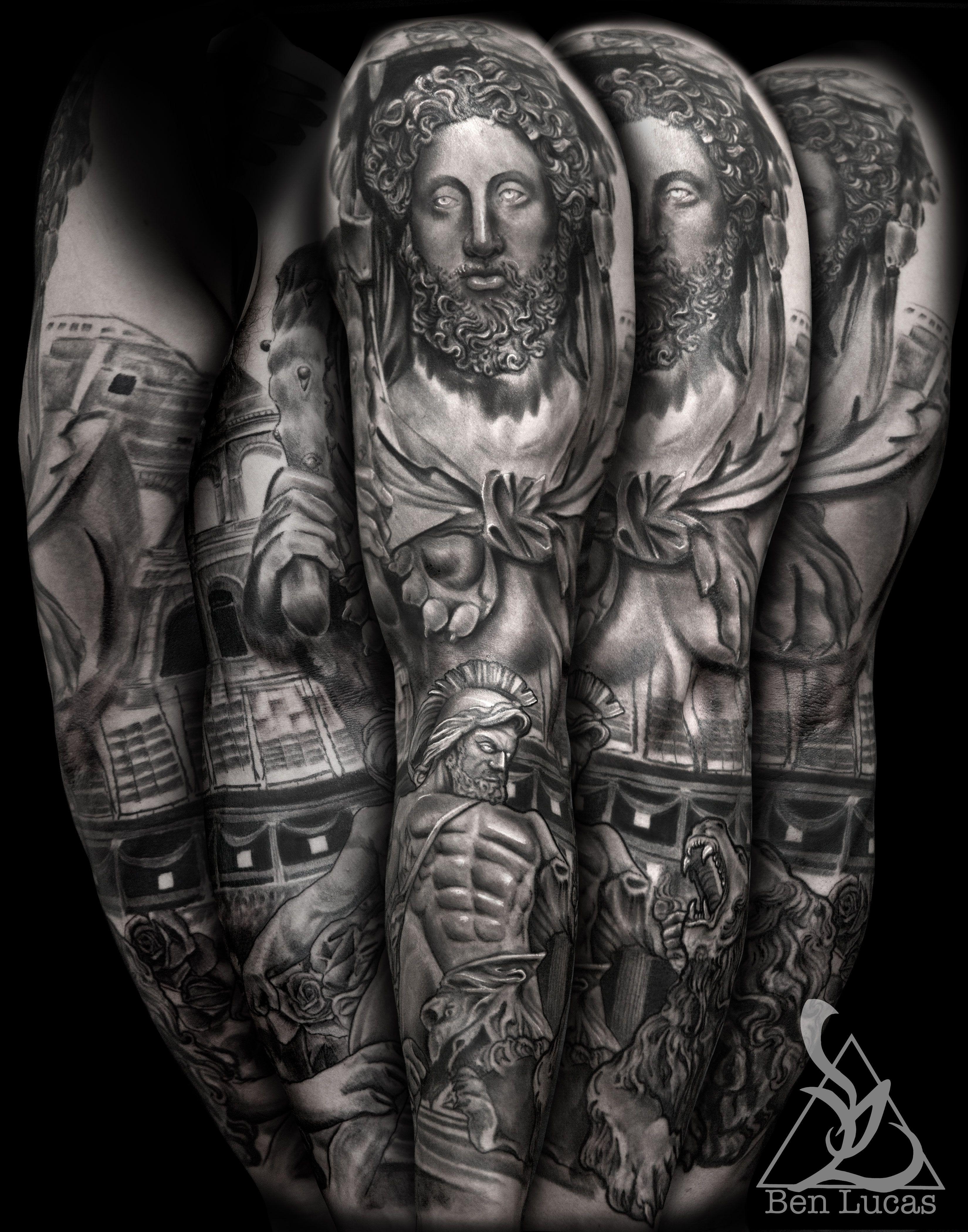 Catholic Tattoo Sleeve : catholic, tattoo, sleeve, Hercules, Gladiator, Coliseum, Fighting, Roman, Catholic, Statue, Sleeve, Tattoo., Tattoo,, Tattoo, Designs