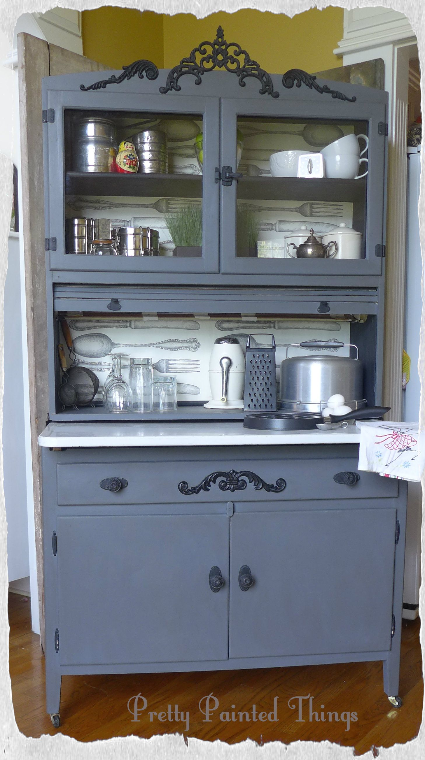 An old Hoosier style cabinet gets an update with chalk paint ...
