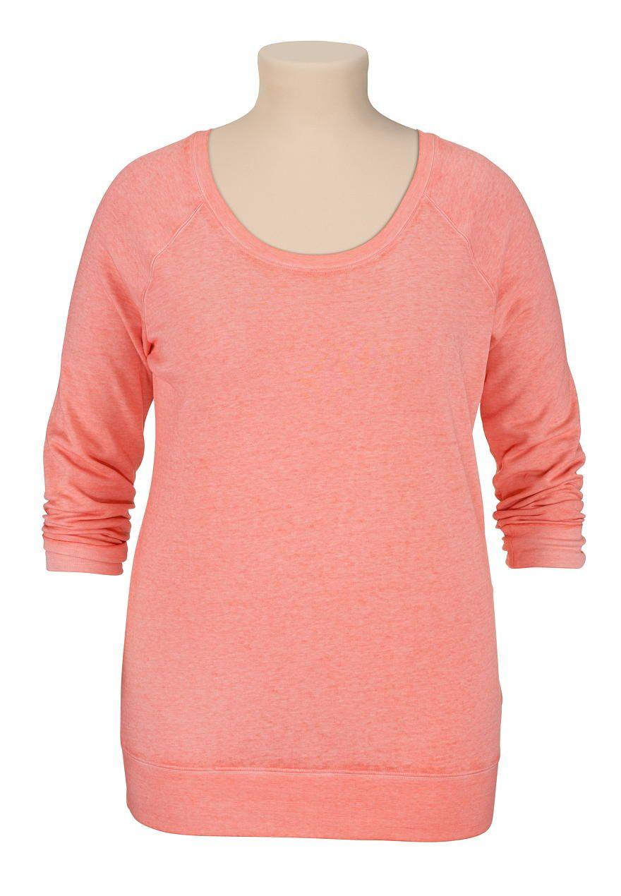long sleeve burnwash tea rose sweatshirt