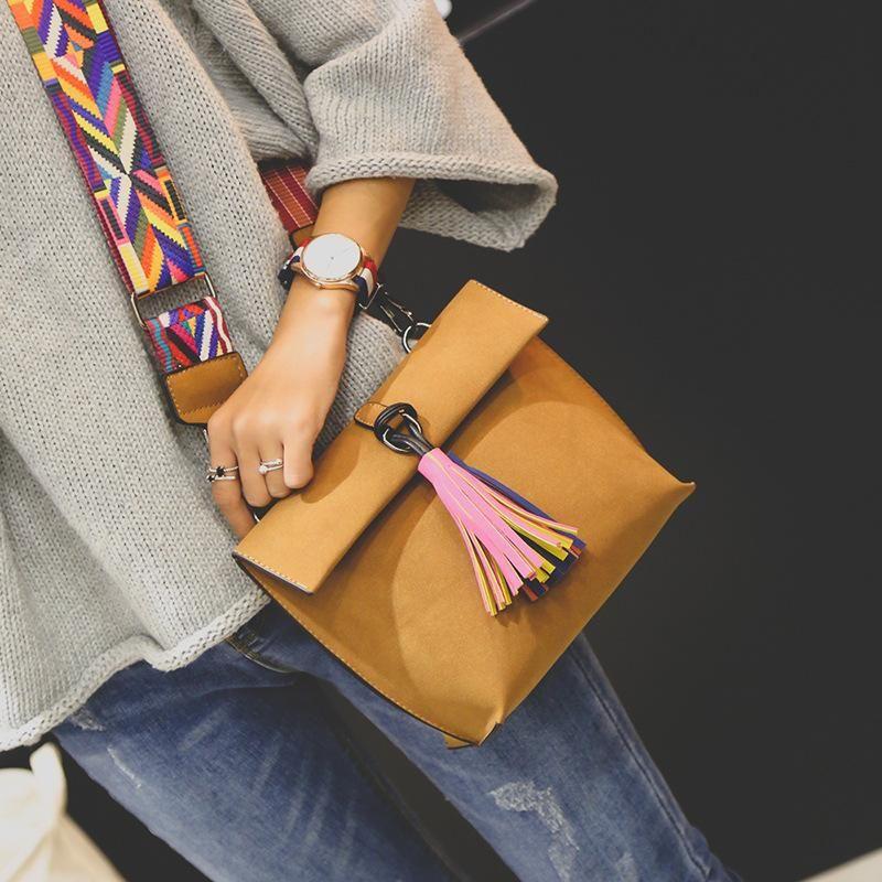 12d1b07fe7da Miyahouse Women Scrub Leather Design Crossbody Bag Girls With Tassel  Colorful Strap Shoulder Bag Female Small