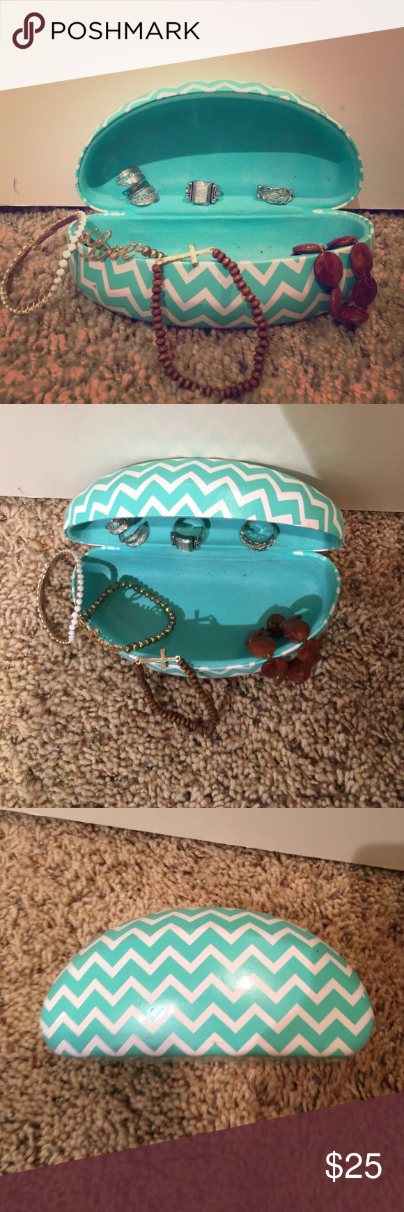 Glasses Case with Jewelry Bundle This teal and white chevron print case is a chic and stylish way to keep your glasses safe. Bundled with three cute rings and four stretchy bracelets this purchase is worth it! Accessories
