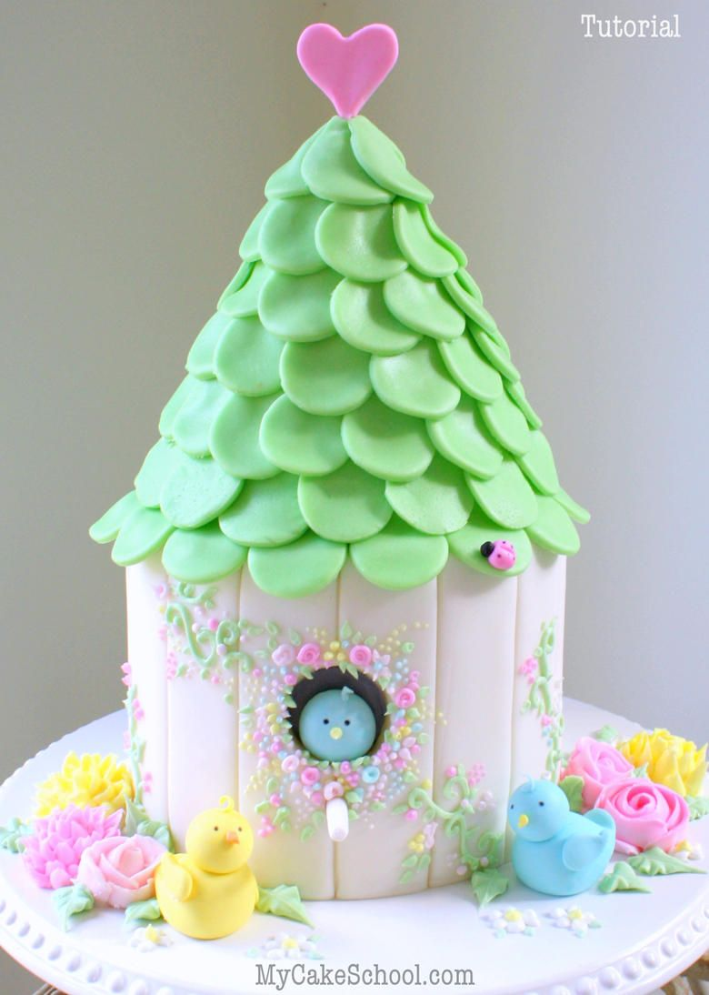 Jumbo Taarten Beautiful Birdhouse Cake Video Tutorial By Mycakeschool