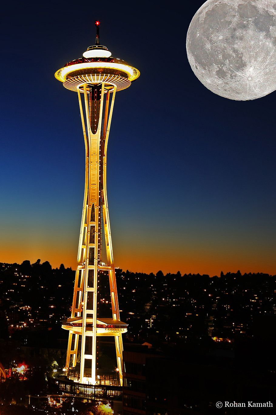 Supermoon Over Seattle Space Needle Space Needle Seattle Space Needle Places To Visit