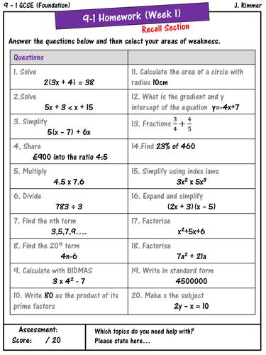 GCSE Maths 9-1 Homework Book - Half term 1 (Foundation) | Gcse ...