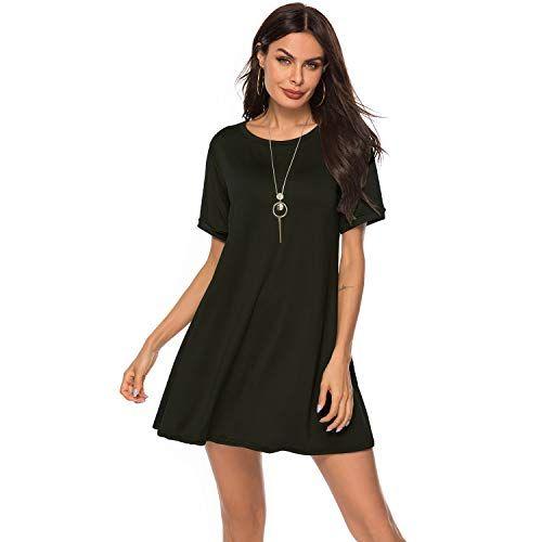 UPhitnis T Shirt Kleid Damen Shirtkleider Rundhals Kurzarm ...