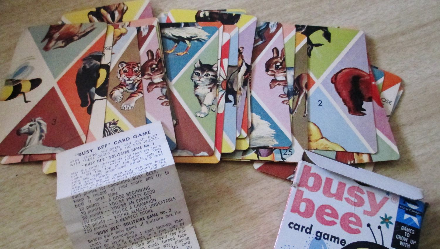 Vintage 1959 Busy Bee Card Game